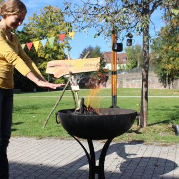 Feuerschale auf Gestell Freiburg mieten Verleih Hochzeit mittelalterlich